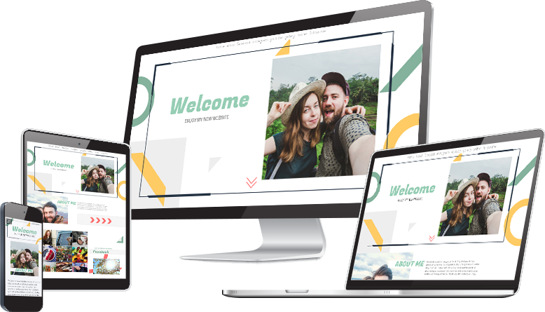 illustration of Emaze website template on computer, tablet and mobile screens